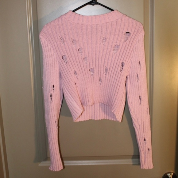 Nasty Gal Sweaters - Nasty Gal Ribbed Distressed Sweater